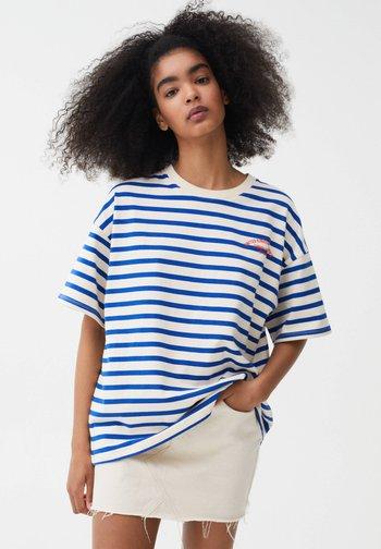 SLOGAN - Print T-shirt - blue