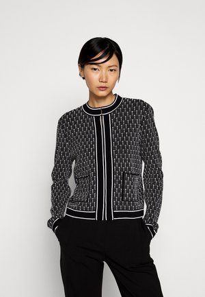 TEXTURED CARDIGAN - Vest - black/white