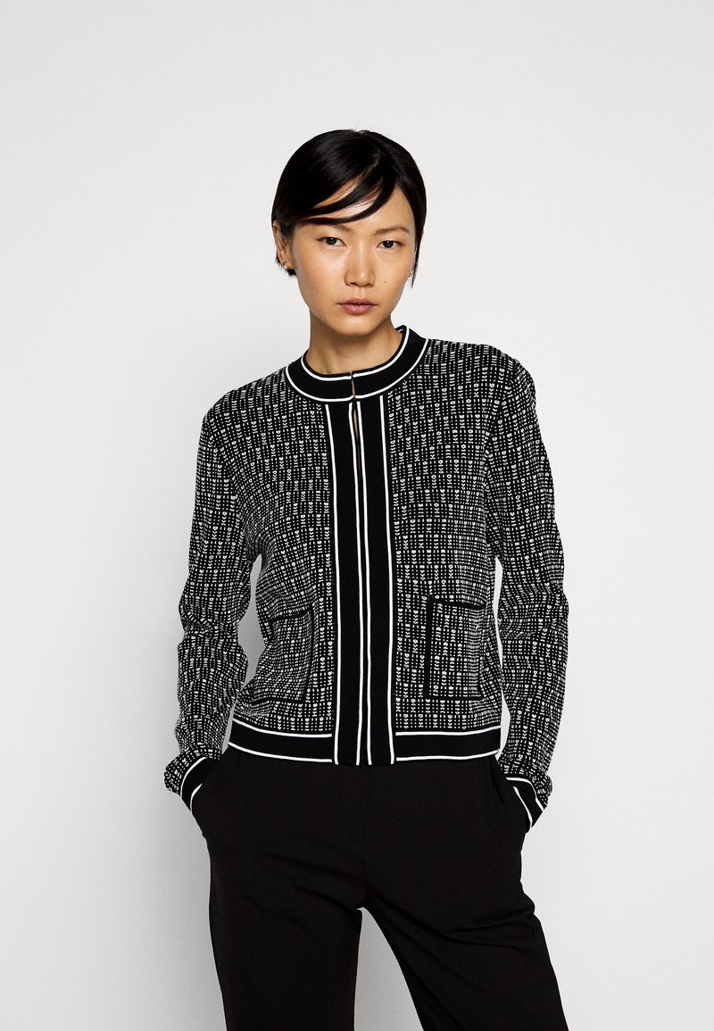 KARL LAGERFELD - TEXTURED CARDIGAN - Cardigan - black/white