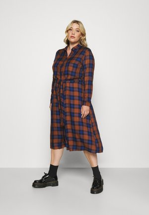 CARVIKANA CALF CHECK SHIRT DRESS - Day dress - brown/blue