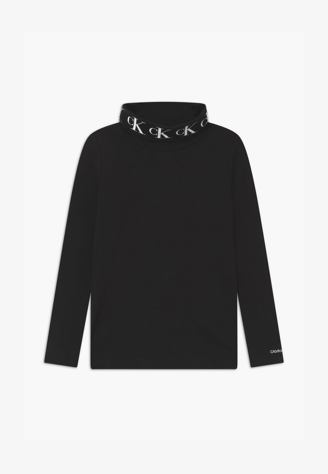 STRETCH MONOGRAM ROLLNECK  - Long sleeved top - black