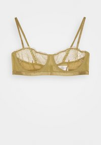 NA-KD - EMBROIDED SIDE STRAP BRA - Balconette bra - olive green - 0