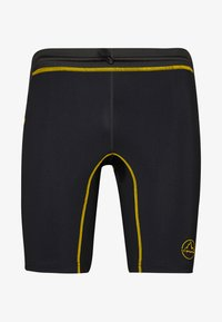 La Sportiva - FREEDOM TIGHT SHORT - Tights - black/yellow