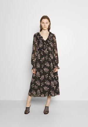 FRILL V NECK MIDI DRESS - Day dress - black
