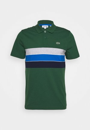 RAINBOW STRIPES - Polo - green/navy blue-utramarine/silver chine/white
