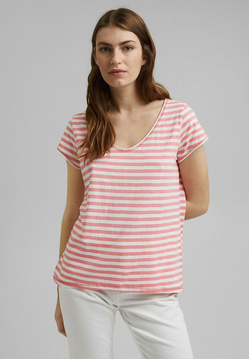 Esprit - SLUB - Print T-shirt - pink