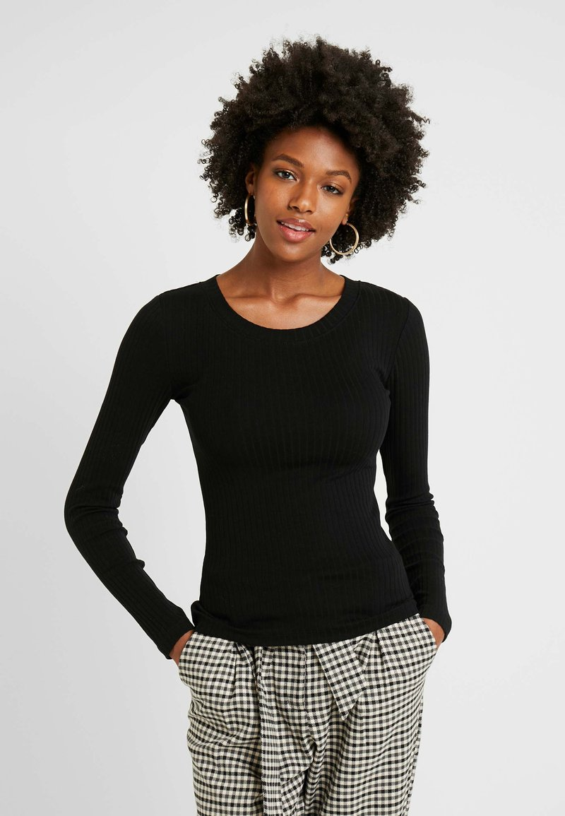 Even&Odd Tall - BASIC CREW NECK LONG SLEEVES - Long sleeved top - black