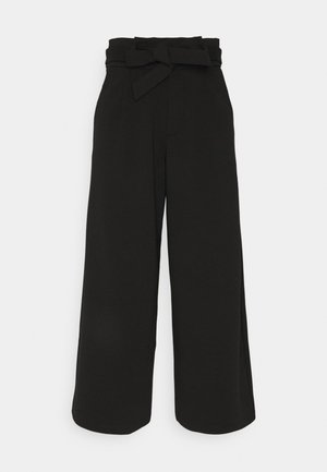 KNITTED PAPERBAG CULOTTE - Trousers - deep black
