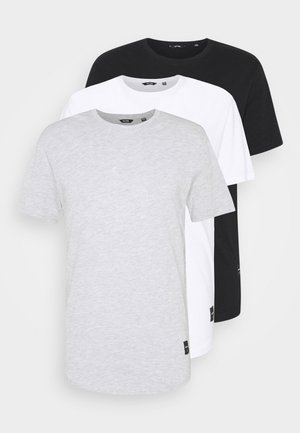 3 PACK - Basic T-shirt - black/white/light grey melange