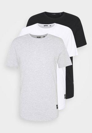 3 PACK - T-shirt - bas - black/white/light grey melange