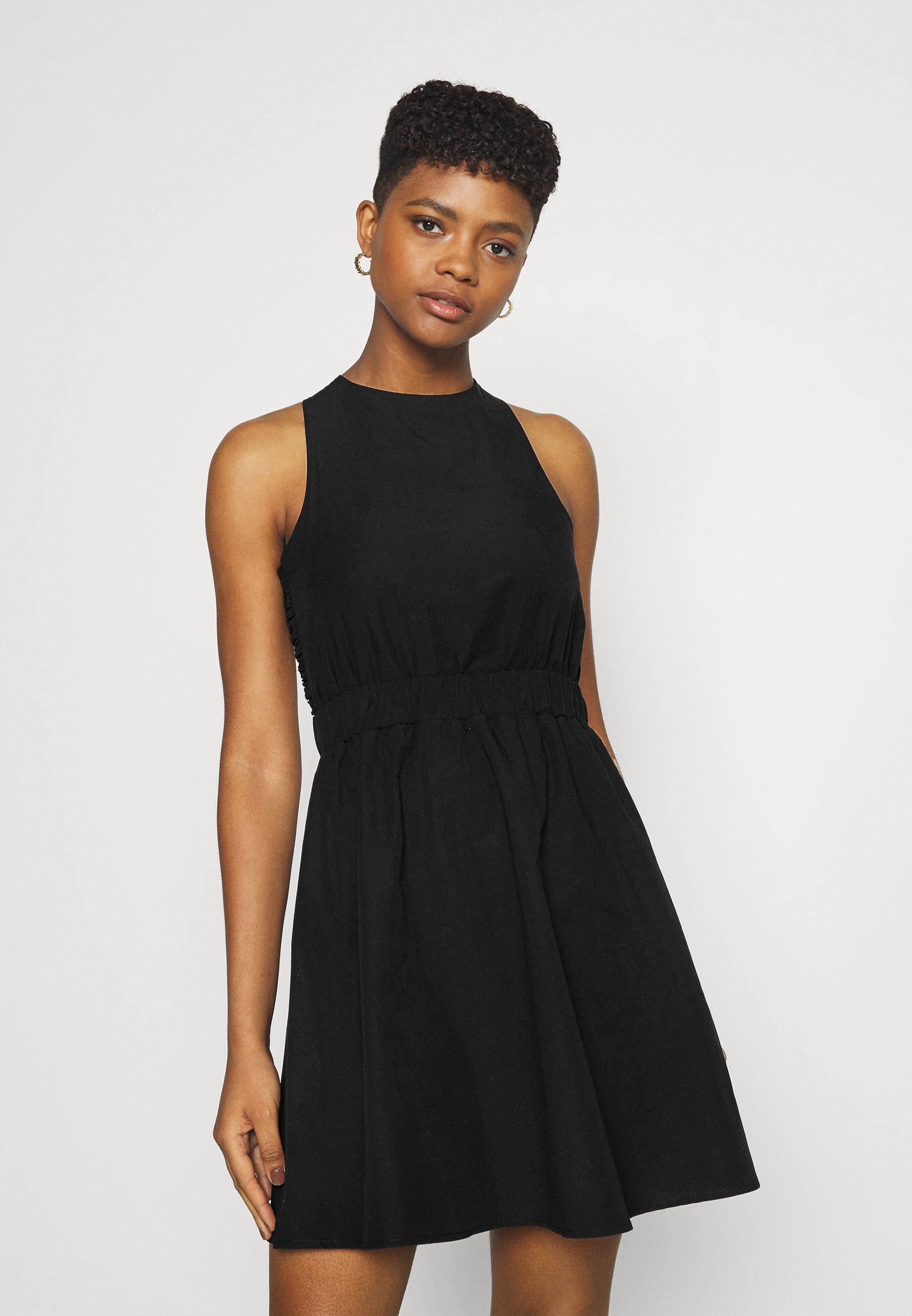 Women WIDE ELASTIC STRAP OPEN BACK MINI DRESS - Day dress
