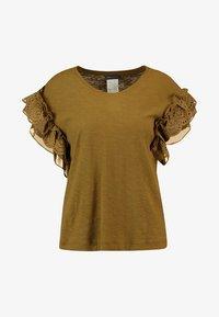 EYELET TRIM MIX MEDIA - Print T-shirt - khaki
