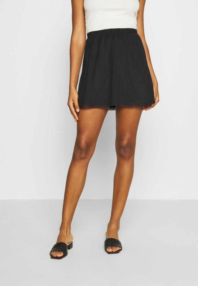 Even&Odd - BASIC - Mesh mini skirt - A-line skirt - black