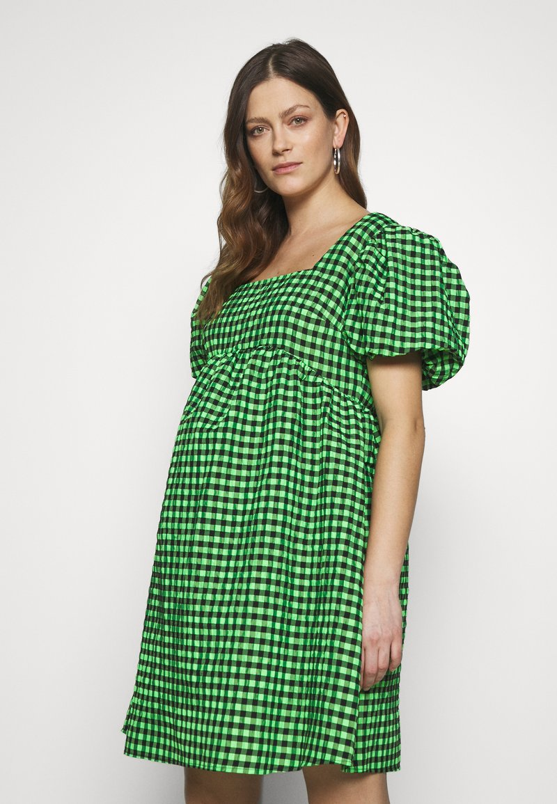 Topshop Maternity - GINGHAM MINI - Day dress - lime
