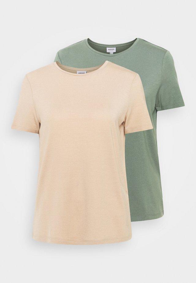 VMAVA TALL 2 PACK - Basic T-shirt - green/beige
