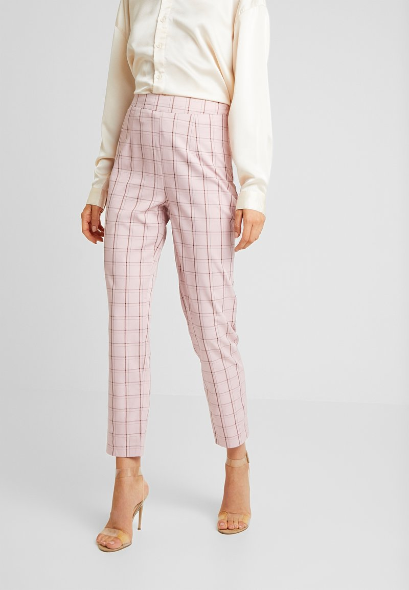 Missguided - CHECK CIGARETTE TROUSER - Trousers - pink