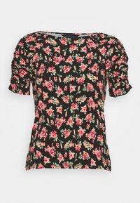 Dorothy Perkins - PRINT RUCHED SLEEVE TEE - Print T-shirt - black - 3