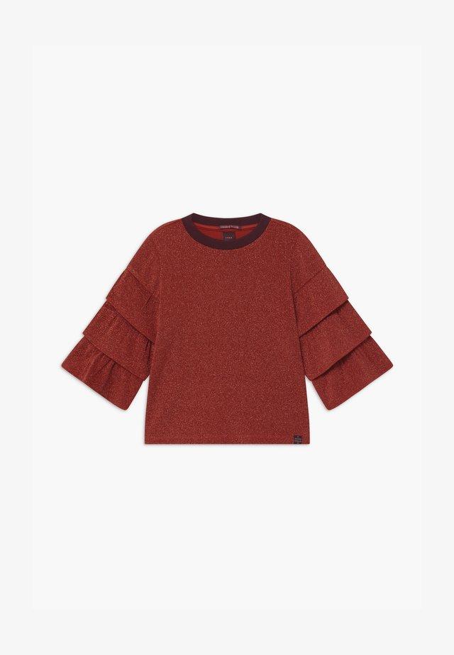 RUFFLE DETAIL SLEEVES - Camiseta de manga larga - moon red