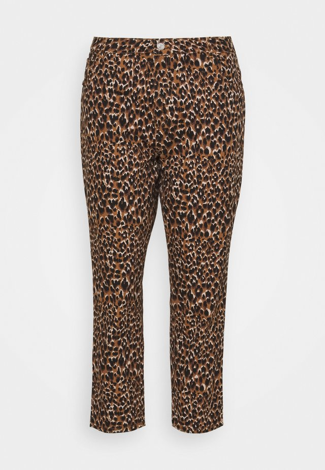 NMISABEL MOM BUTTON  - Trousers - toasted coconut/leo print