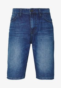 JEANSHOSEN JOSH REGULAR SLIM JEANS-SHORTS IN VINTAGE-WASHUNG - Denim shorts - mid stone wash denim