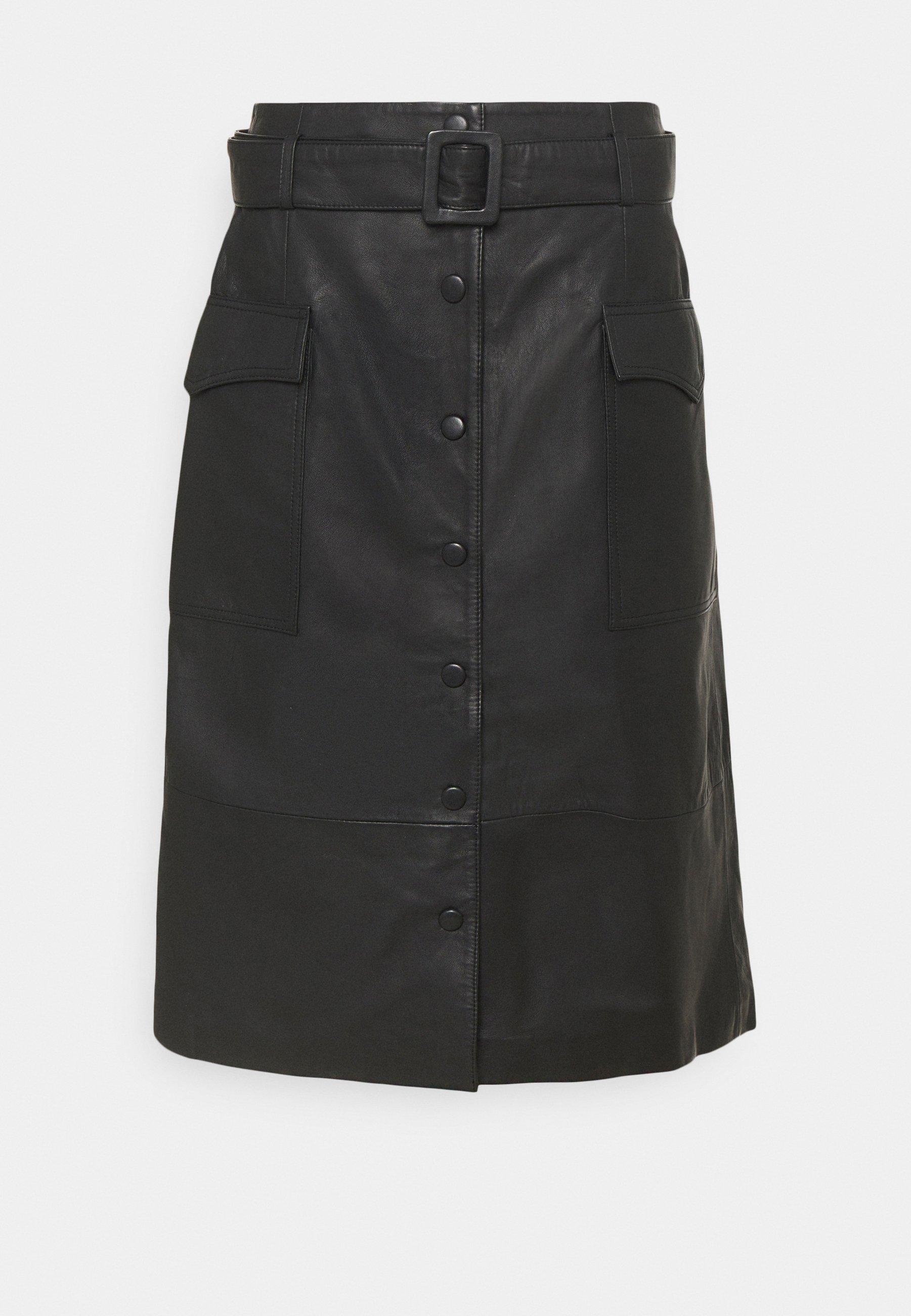Femme SLFMINELLA MIDI SKIRT  - Jupe en cuir