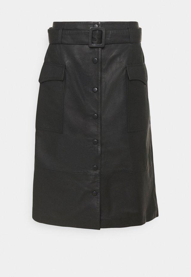 SLFMINELLA MIDI SKIRT  - Leather skirt - black