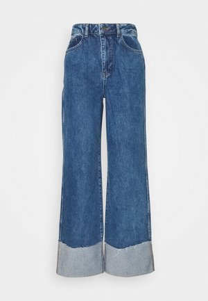 TURN UP HIGH RISE WIDE LEG  - Relaxed fit -farkut - mid blue wash