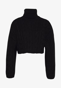 New Look - ROLL NECK WIDE SLEEVE CABLE - Svetr - black - 3