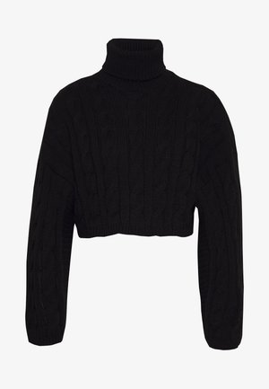 ROLL NECK WIDE SLEEVE CABLE - Jersey de punto - black