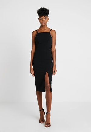 STRAPPY SQUARE NECK MIDI DRESS - Pouzdrové šaty - black