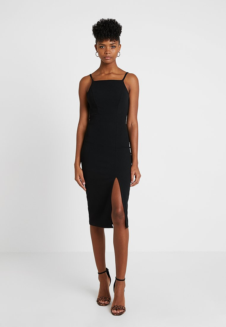 WAL G. - STRAPPY SQUARE NECK MIDI DRESS - Shift dress - black