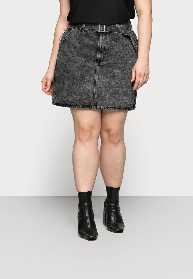 MINI SKIRT WITH BELT - Mini skirt - black