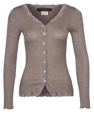 SILK-MIX CARDIGAN REGULAR LS W/REV VINTAGE LACE - Cardigan - brown melange