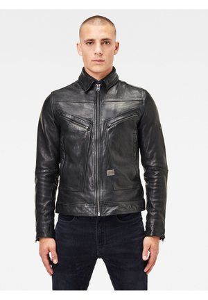 Leather jacket - garris washed leather dk black