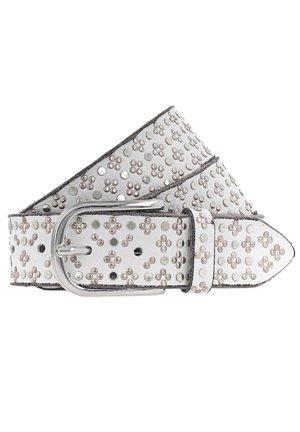LEDER-NIETENGÜRTEL TINI SILVER - Belt - white