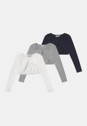 BOLERO 3 PACK - Strickjacke - navy/grey melange/white