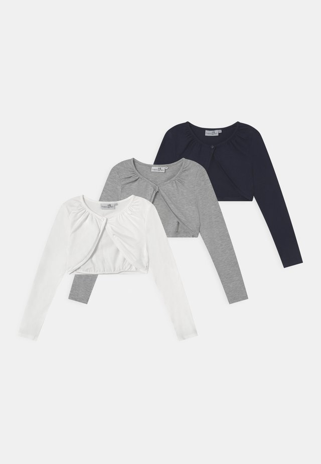 BOLERO 3 PACK - Kardigan - navy/grey melange/white