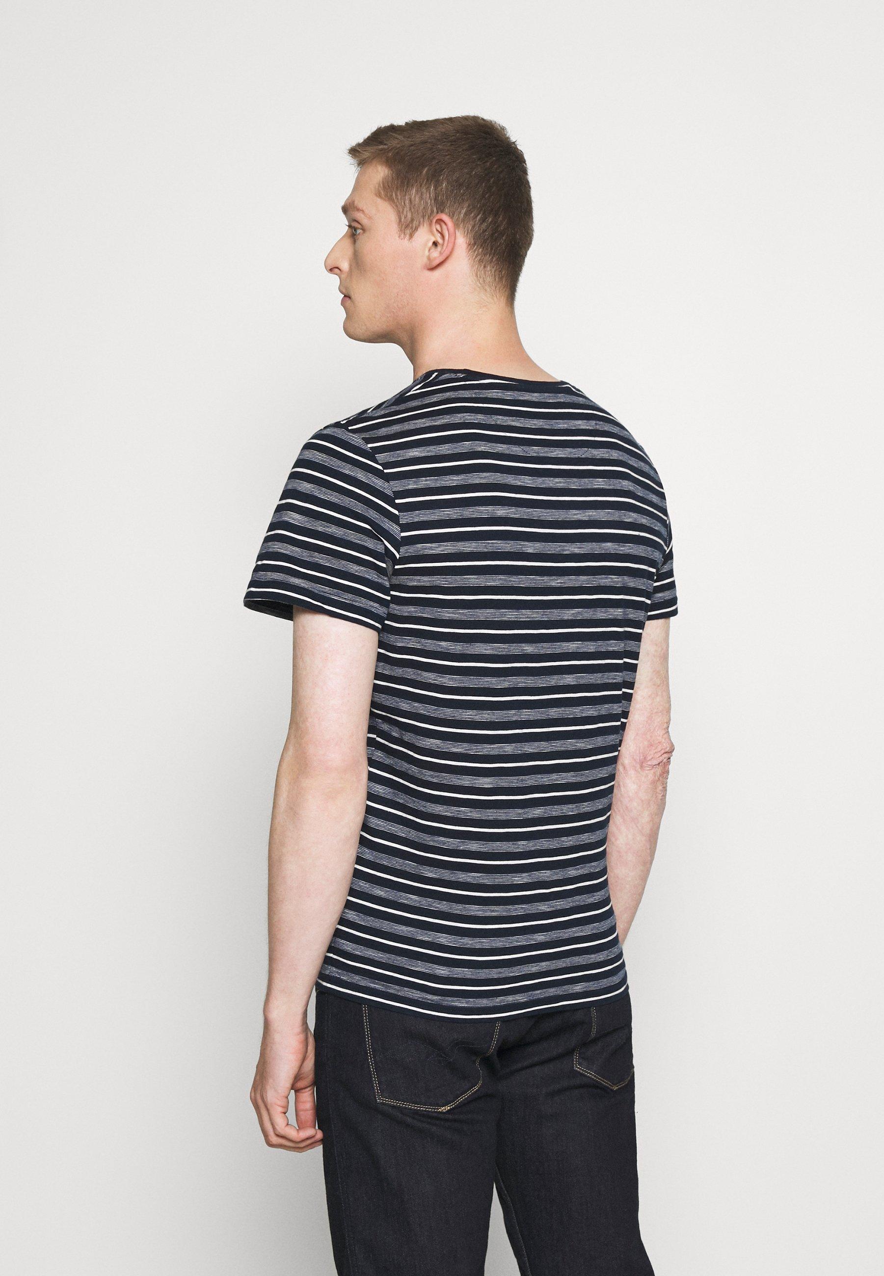 TOM TAILOR STRIPED  - Print T-shirt - blue/off white AYLq5