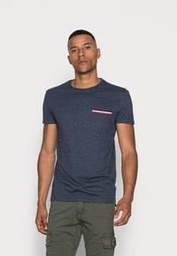 Pier One - Basic T-shirt - mottled dark blue - 0
