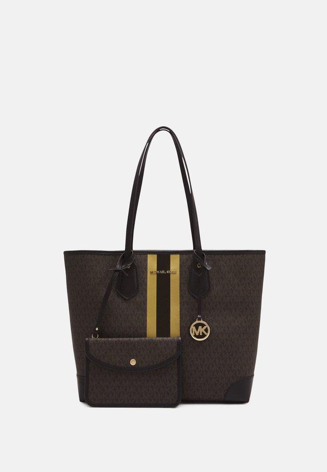 EVALG TOTE - Shopping bag - brown/gold