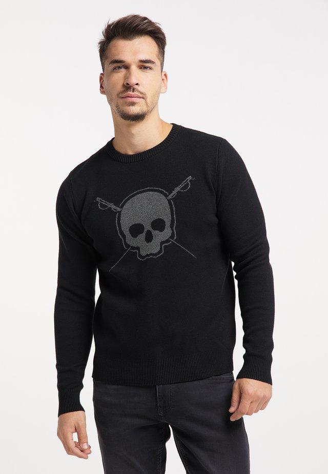 Trui - schwarz dunkelgrau melange