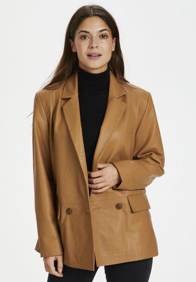 Veste en cuir - tobacco brown