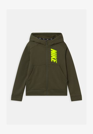 Hoodie met rits - cargo khaki/volt