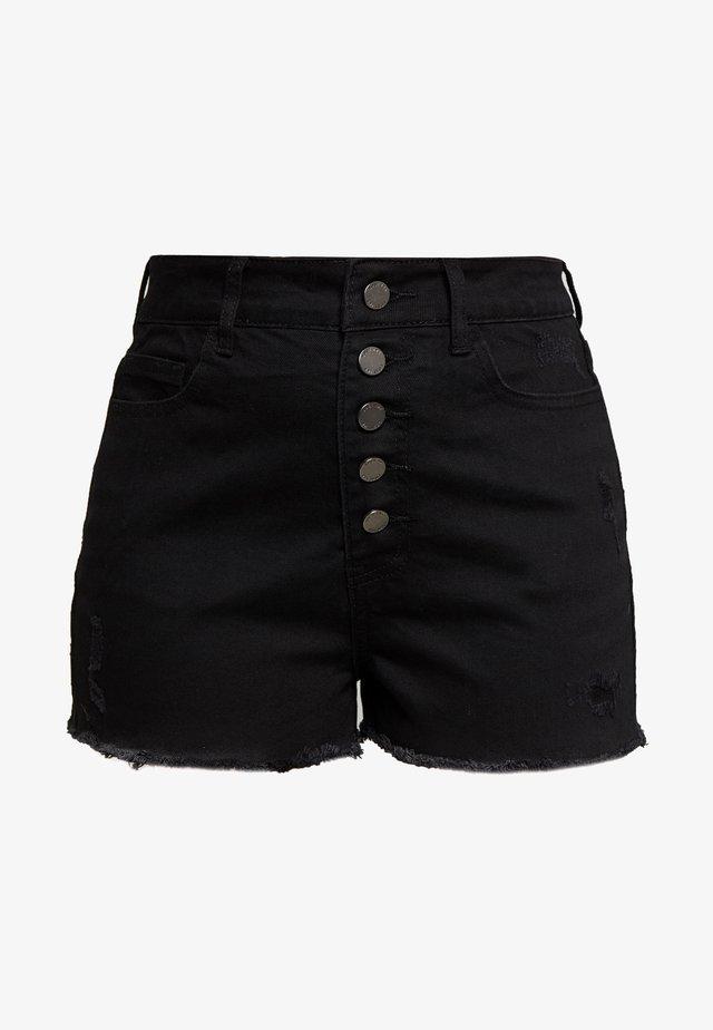 BUTTON FRONT MOM SHORT - Shorts - black