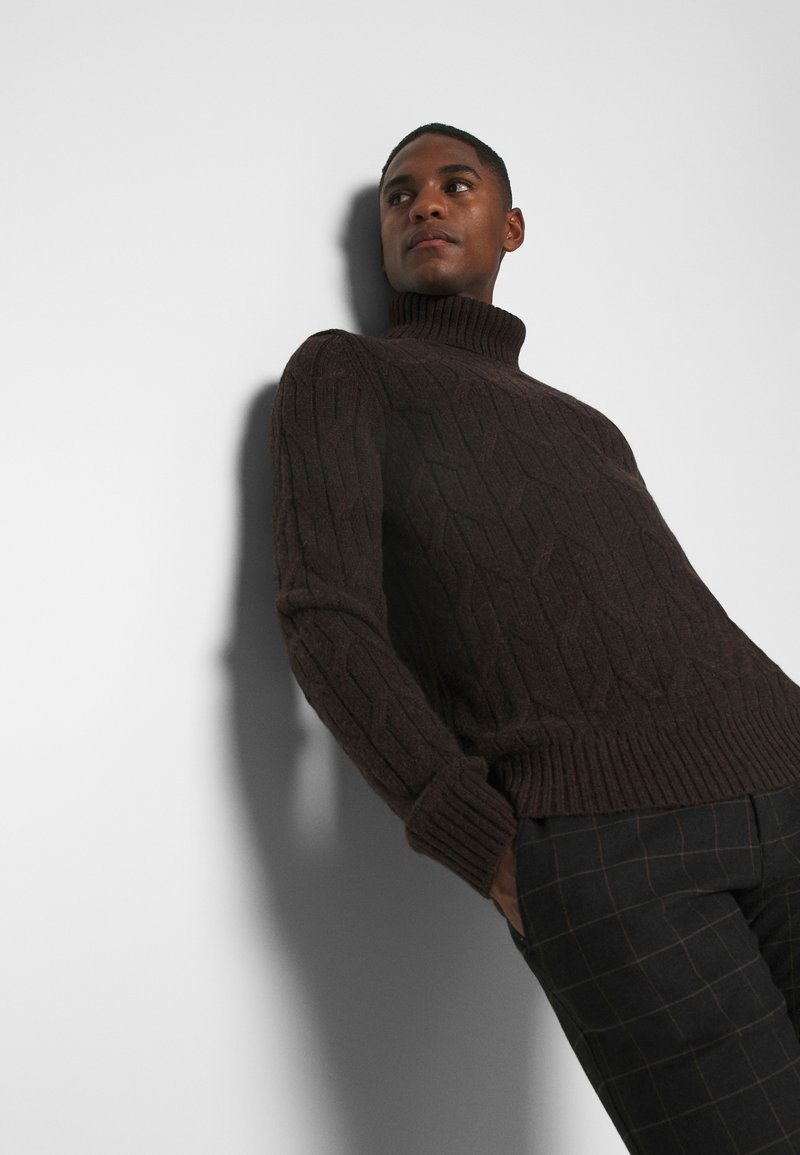 Pier One Strickpullover - mottled dark brown/dunkelbraun-meliert lAzP6S