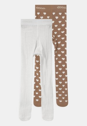 HEARTS 2 PACK - Tights - light brown/white