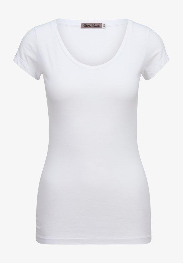 CLARA V - Basic T-shirt - blanco