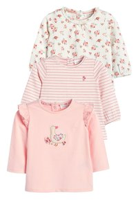 Next - ECRU/PINK 3 PACK DUCK AND FLORAL T-SHIRTS (0MTHS-3YRS) - Longsleeve - pink - 0