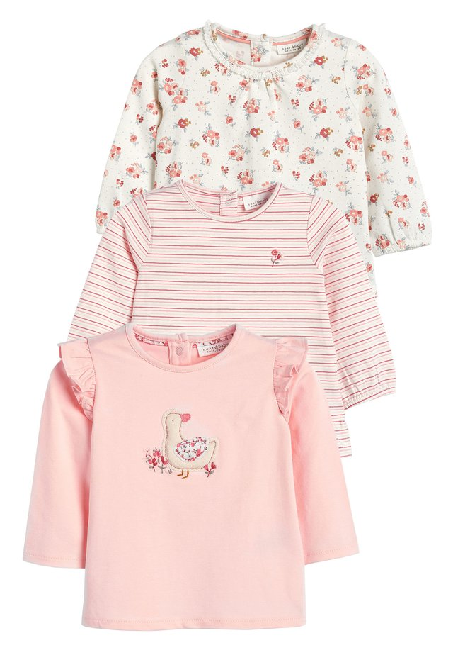 ECRU/PINK 3 PACK DUCK AND FLORAL T-SHIRTS (0MTHS-3YRS) - Long sleeved top - pink
