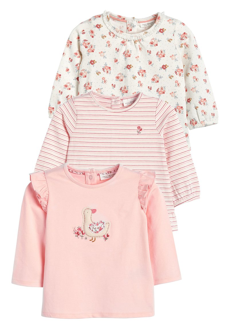 Next - ECRU/PINK 3 PACK DUCK AND FLORAL T-SHIRTS (0MTHS-3YRS) - Longsleeve - pink